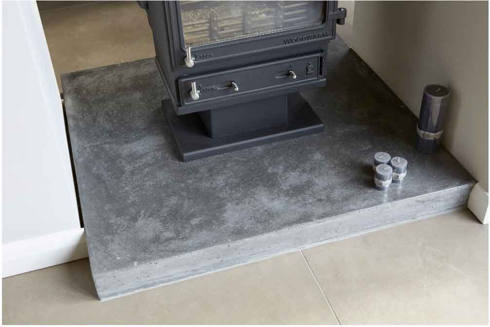 Polished concrete hearths eco grind for Concrete mantels and hearths