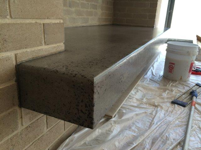 Concrete polished fireplaces hearths eco grind melbourne for Concrete mantels and hearths
