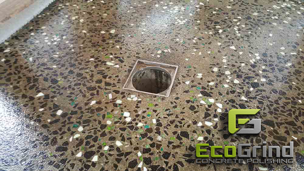 Fish creek polished concrete shower base eco grind for Polished concrete floor bathroom
