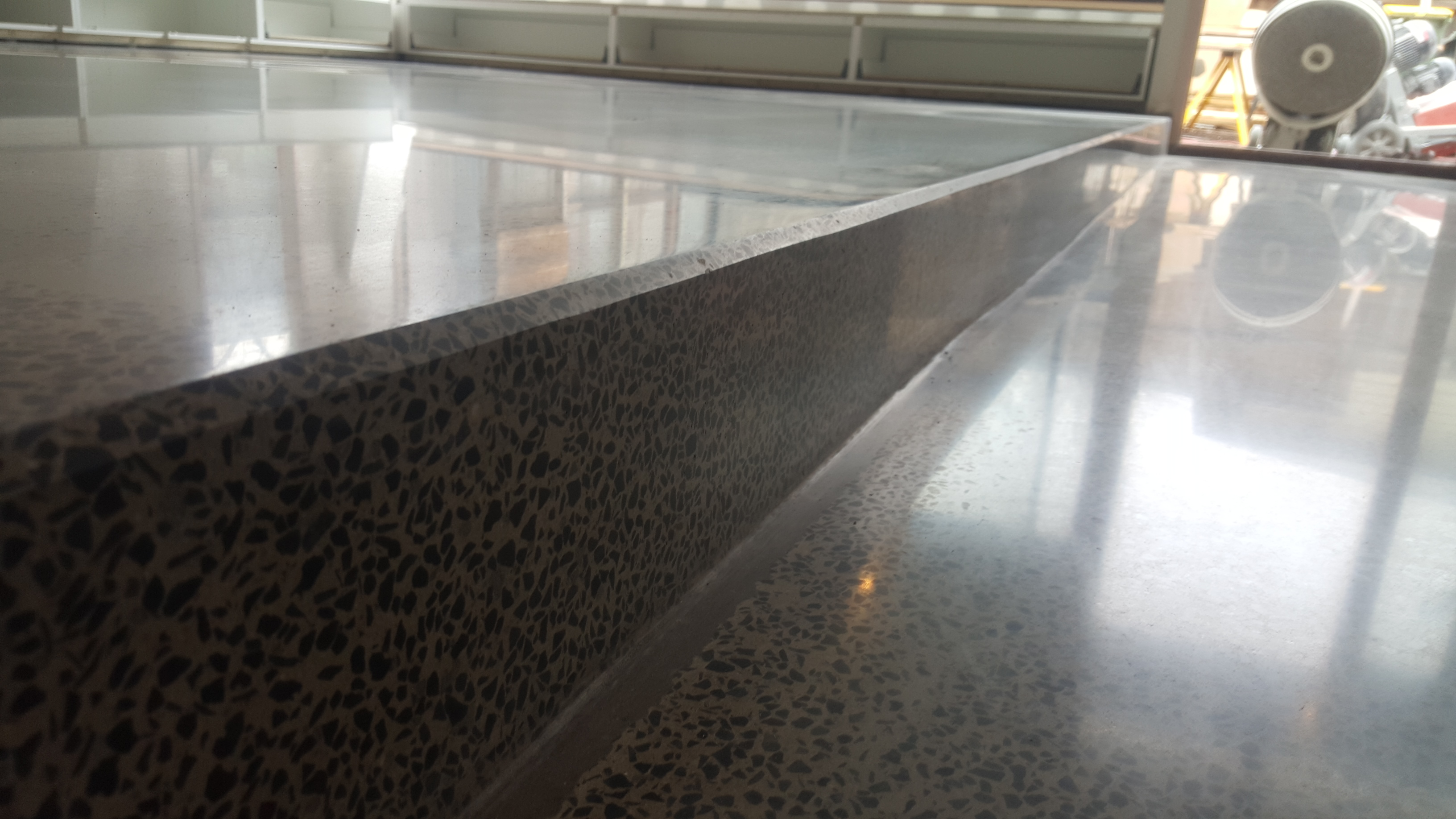 polished concrete stairs