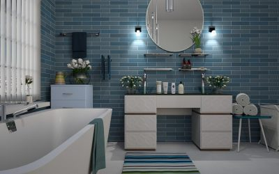 Be Inspired by Blue Themed Bathrooms with Polished Concrete Floors
