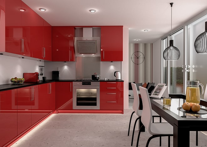 Polished Concrete Floors with Red Kitchen