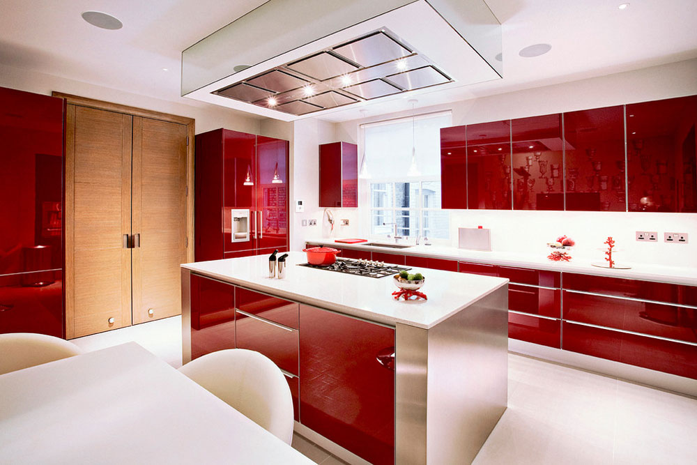Red Kitchens with Polished Concrete Floors