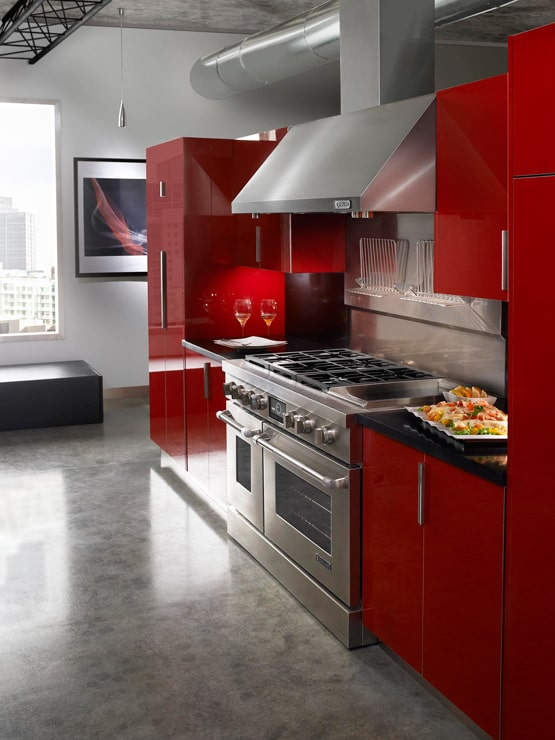 Red Themed Kitchen with Polished Concrete Floors