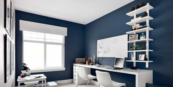 Blue themed office with polished concrete