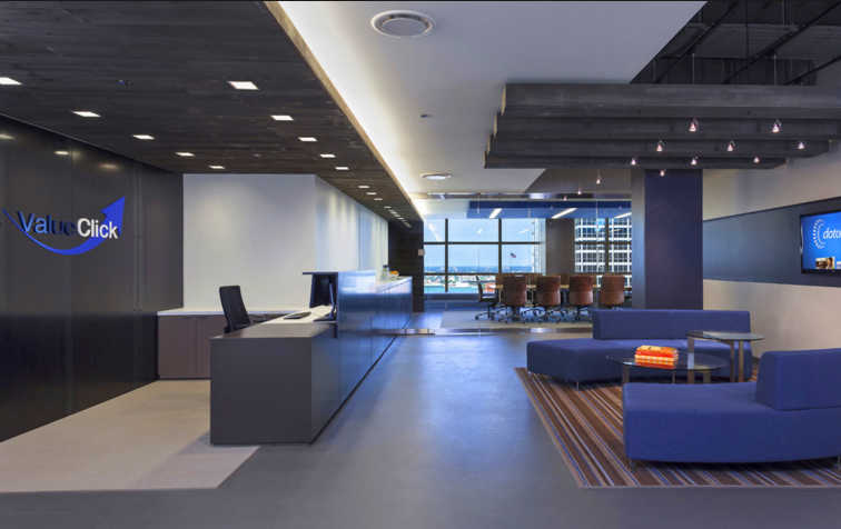 Blue Office with Polished Concrete Floors