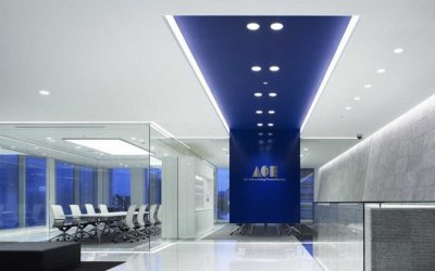 Blue Themed Offices with Polished Concrete Floors – Trending Now!