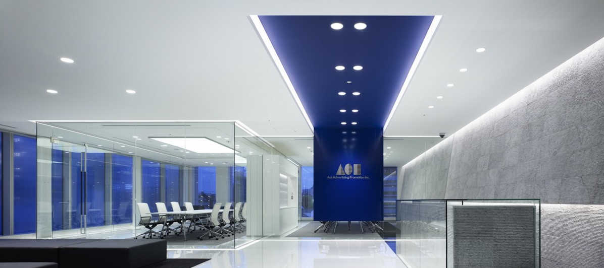 Blue themed offices with polished concrete floors