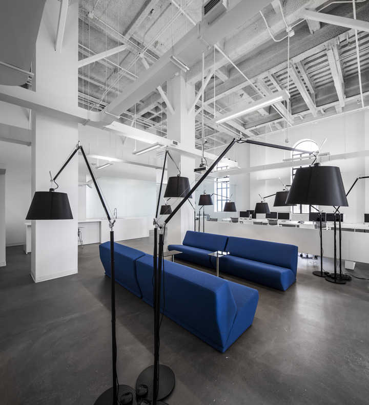 Blue Office with Polished Concrete