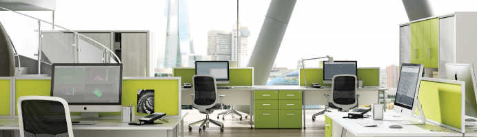 Green office with polished concrete