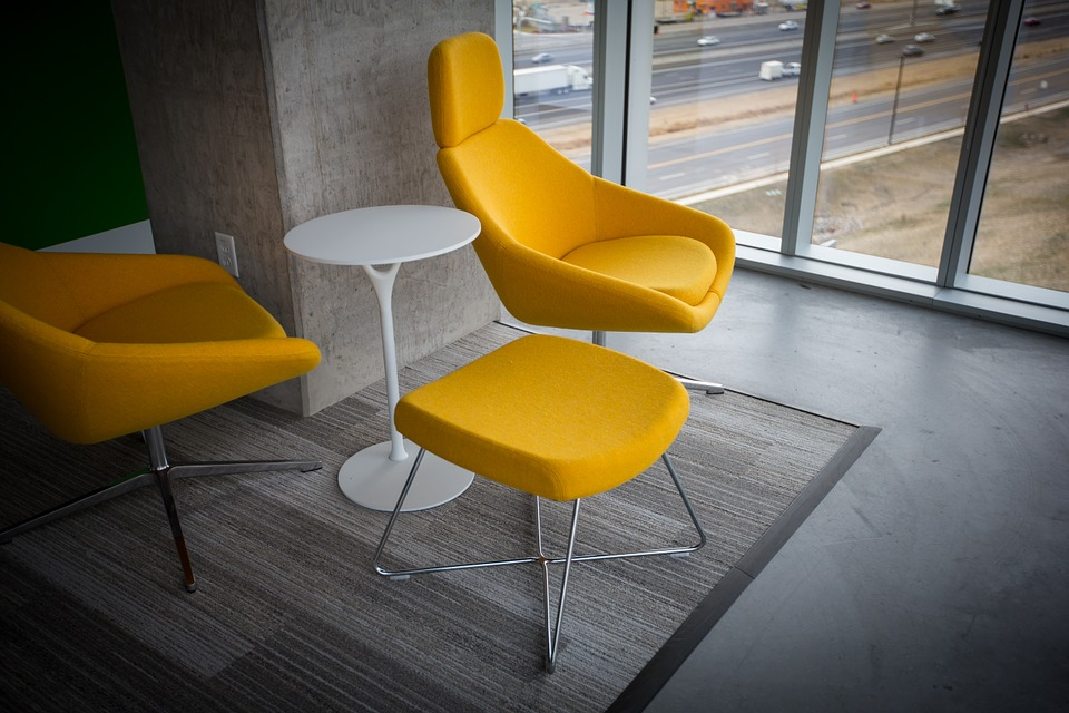 Yellow Themed Offices with Polished Concrete Floors