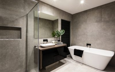 Black Themed Bathrooms with Concrete Polished Floors