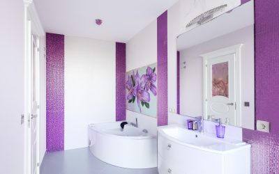 Violet Themed Bathrooms with Polished Concrete Floors