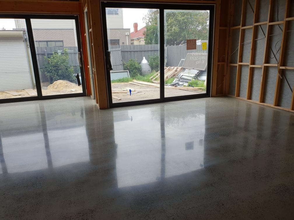 Random Exposure Mechanical Polished Concrete in Dandenong